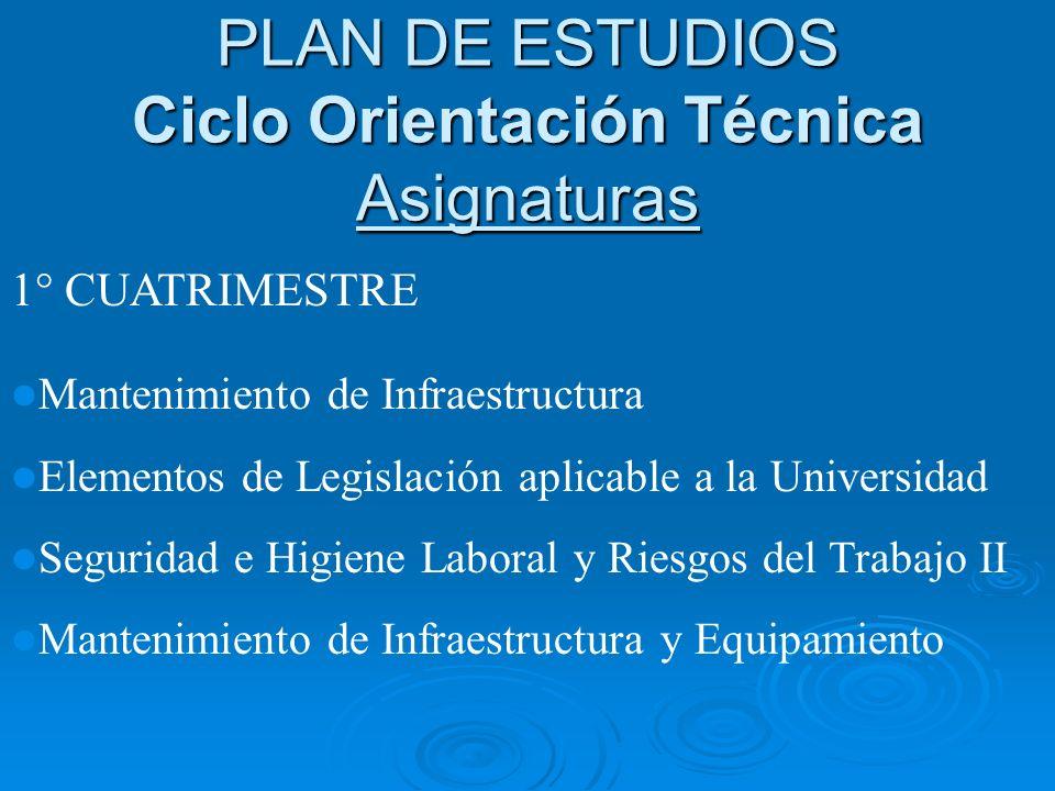 PLAN DE ESTUDIOS Ciclo Orientación Técnica Asignaturas
