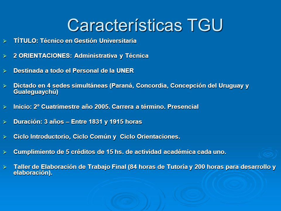 Características TGU TÍTULO: Técnico en Gestión Universitaria