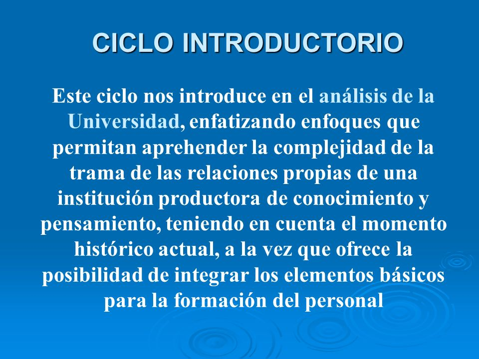 CICLO INTRODUCTORIO