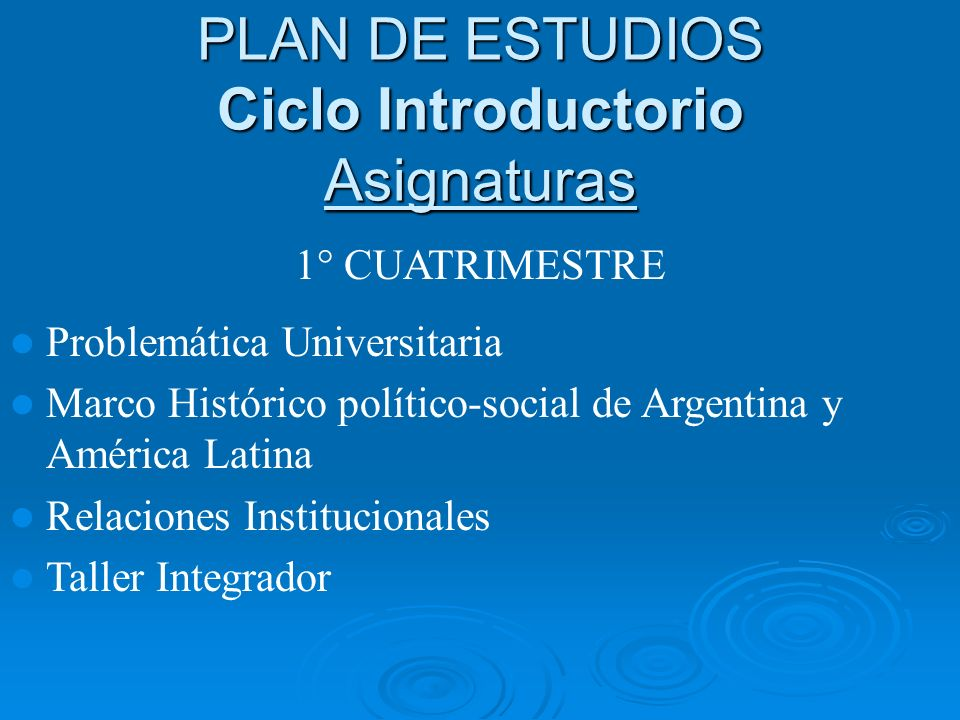 PLAN DE ESTUDIOS Ciclo Introductorio