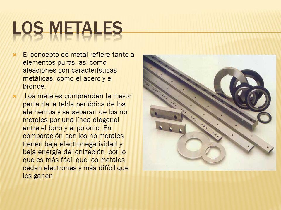 Los metales El concepto de metal refiere tanto a elementos puros, así como aleaciones con características metálicas, como el acero y el bronce.