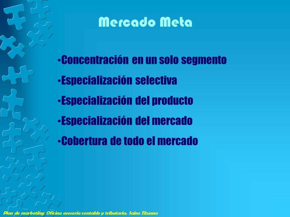 Mercado Meta Concentración en un solo segmento