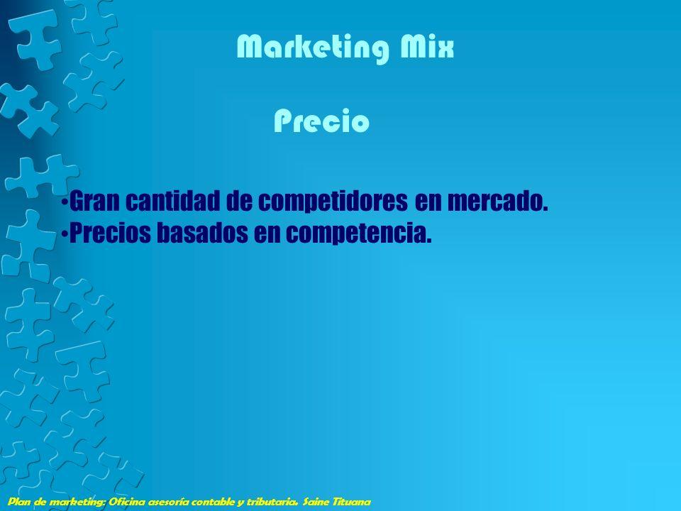 Marketing Mix Precio Gran cantidad de competidores en mercado.
