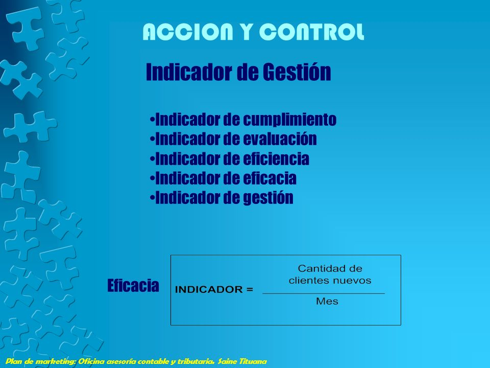 ACCION Y CONTROL Indicador de Gestión Indicador de cumplimiento