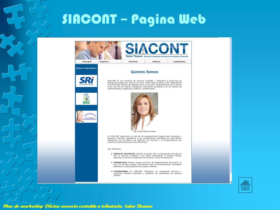 SIACONT – Pagina Web Plan de marketing: Oficina asesoría contable y tributaria. Saine Tituana