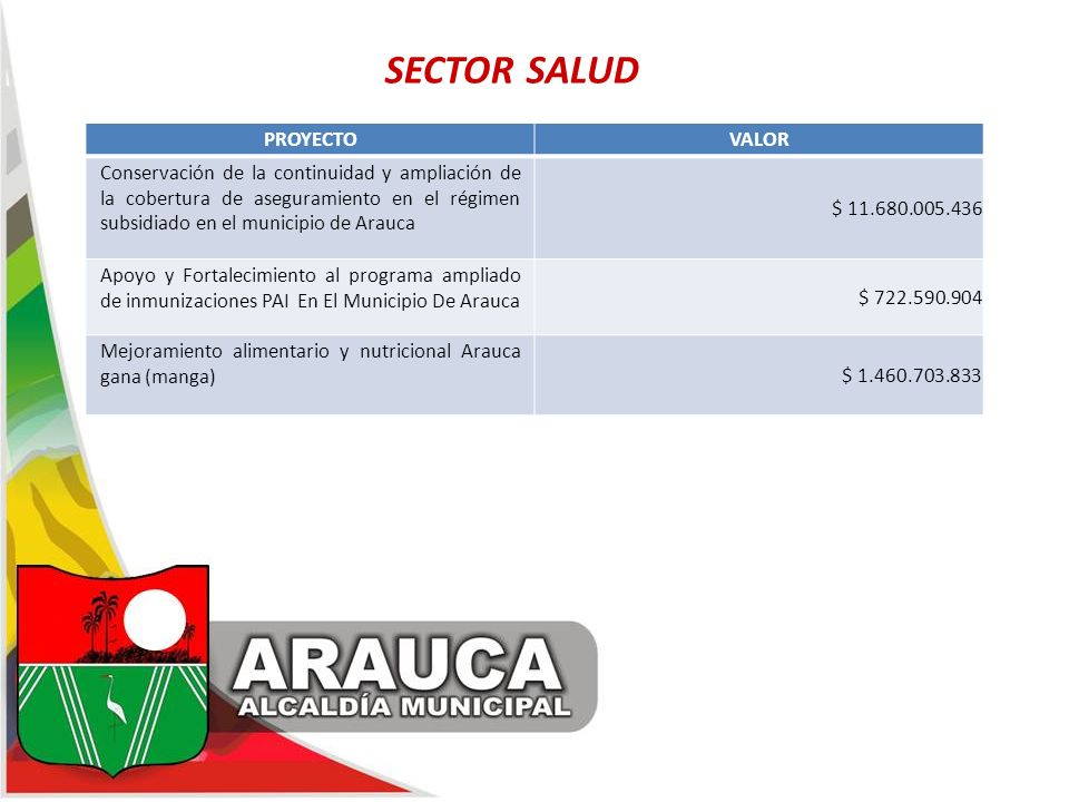 SECTOR SALUD PROYECTO VALOR