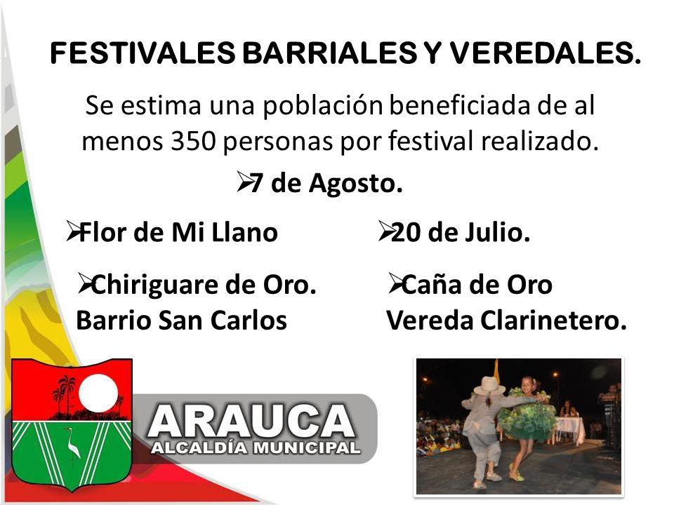 FESTIVALES BARRIALES Y VEREDALES.