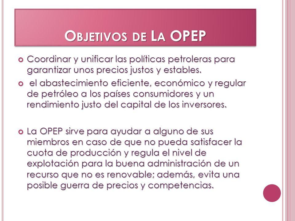 Objetivos de La OPEP Coordinar y unificar las políticas petroleras para garantizar unos precios justos y estables.