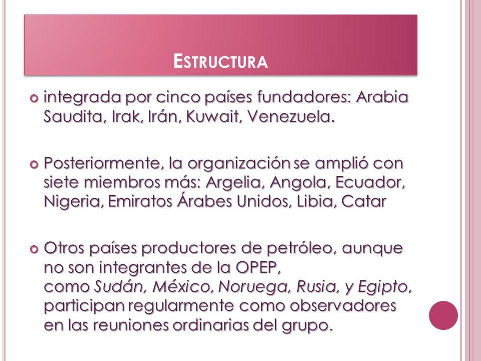 Estructuraintegrada por cinco países fundadores: Arabia Saudita, Irak, Irán, Kuwait, Venezuela.