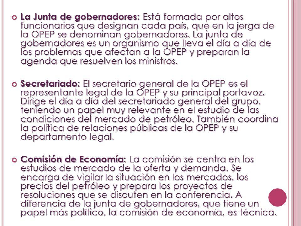 La Junta de gobernadores: Está formada por altos funcionarios que designan cada país, que en la jerga de la OPEP se denominan gobernadores. La junta de gobernadores es un organismo que lleva el día a día de los problemas que afectan a la OPEP y preparan la agenda que resuelven los ministros.