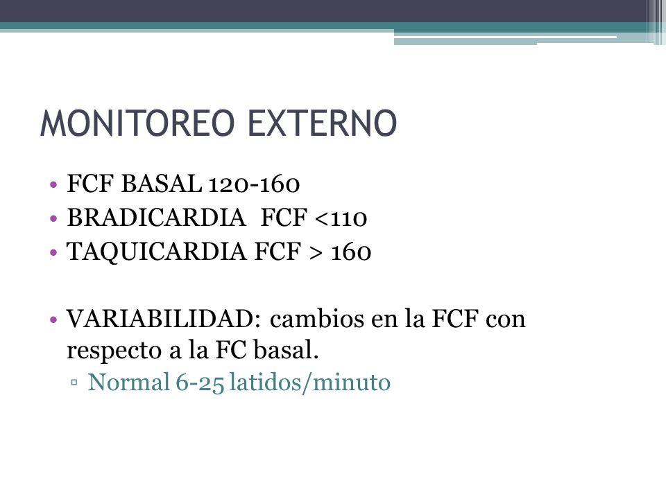 MONITOREO EXTERNO FCF BASAL 120-160 BRADICARDIA FCF <110