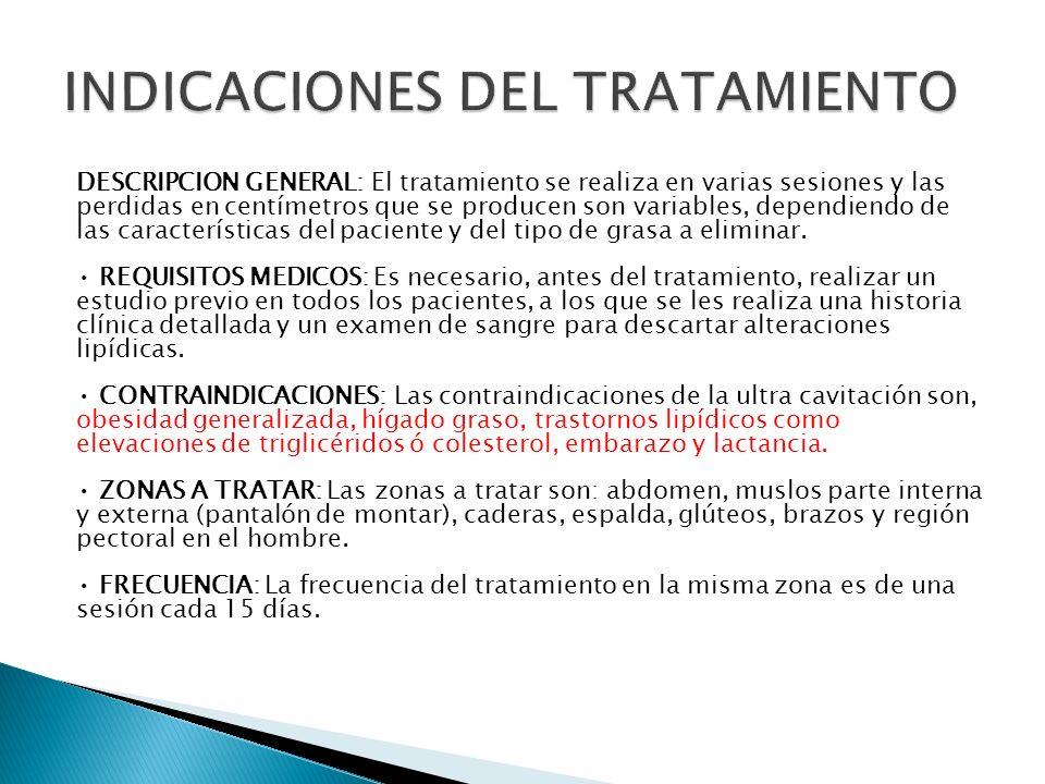 INDICACIONES DEL TRATAMIENTO