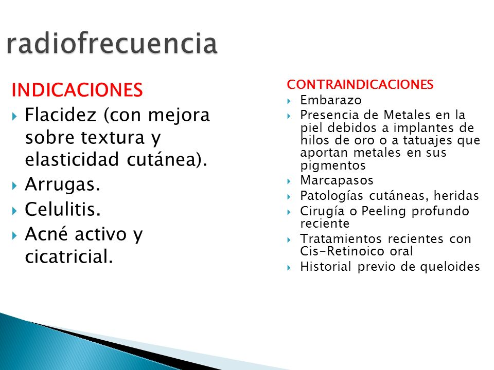 radiofrecuencia INDICACIONES