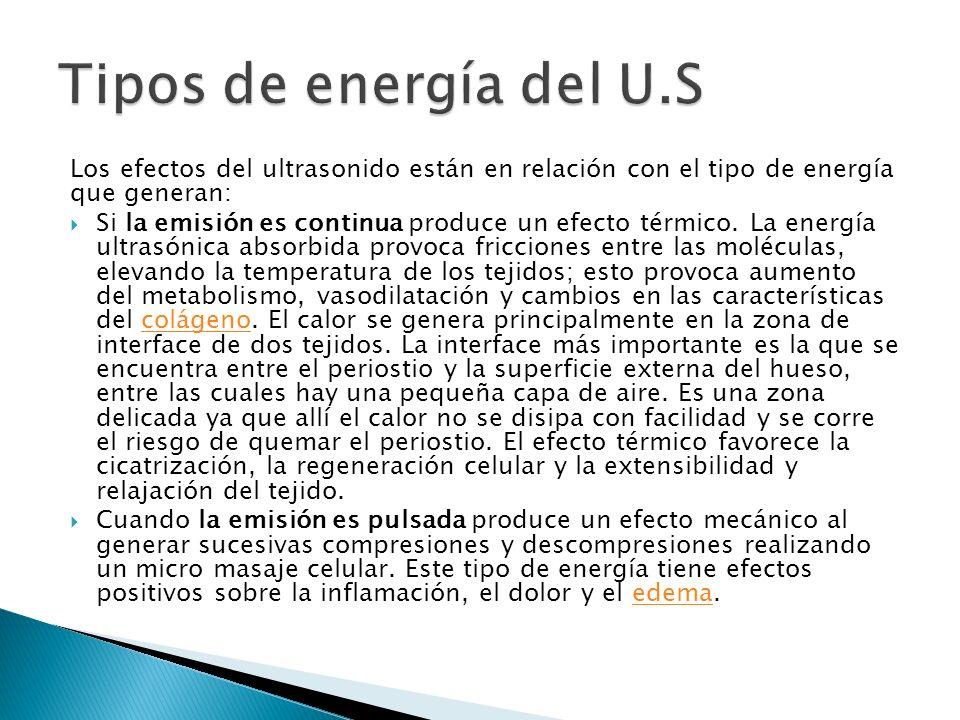Tipos de energía del U.S Los efectos del ultrasonido están en relación con el tipo de energía que generan: