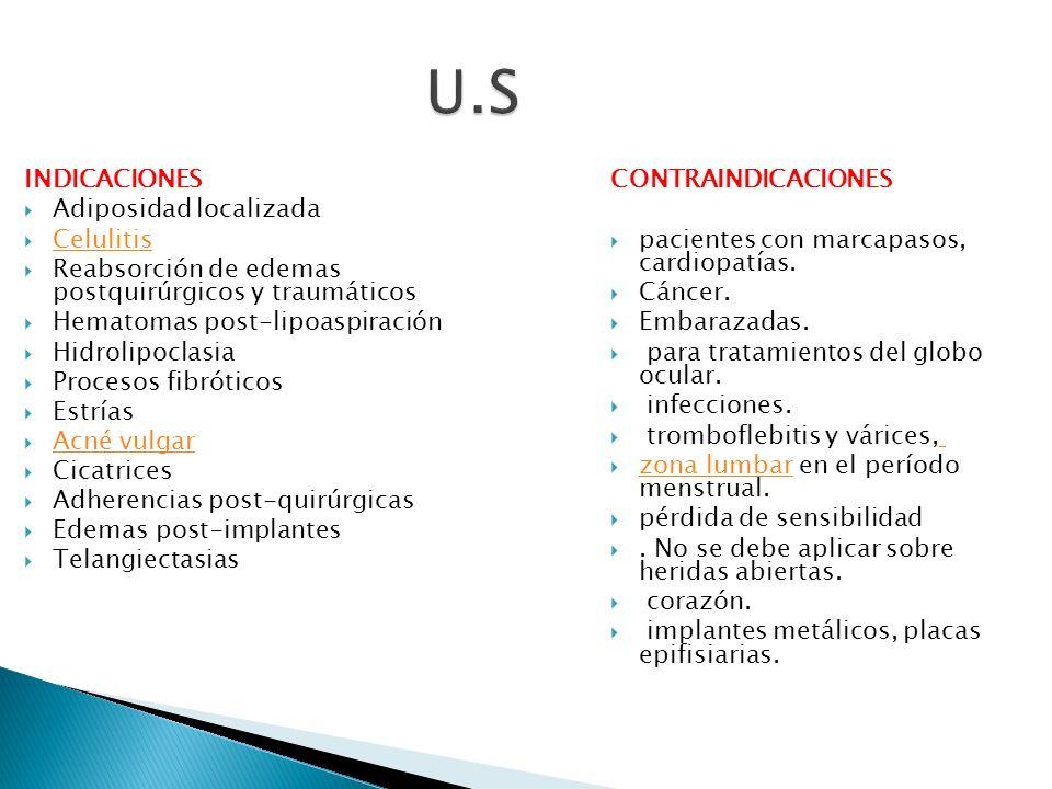 U.S INDICACIONES Adiposidad localizada Celulitis