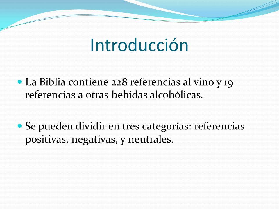 Introducción La Biblia contiene 228 referencias al vino y 19 referencias a otras bebidas alcohólicas.