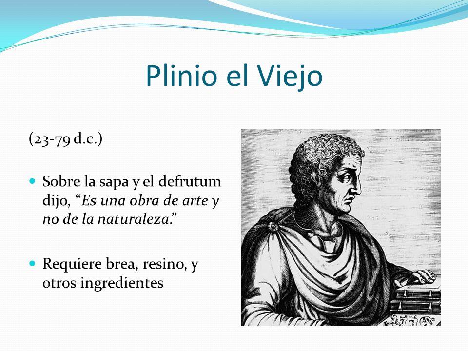 Plinio el Viejo (23-79 d.c.) Sobre la sapa y el defrutum dijo, Es una obra de arte y no de la naturaleza.