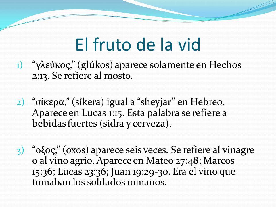 El fruto de la vid γλεύκος, (glúkos) aparece solamente en Hechos 2:13. Se refiere al mosto.