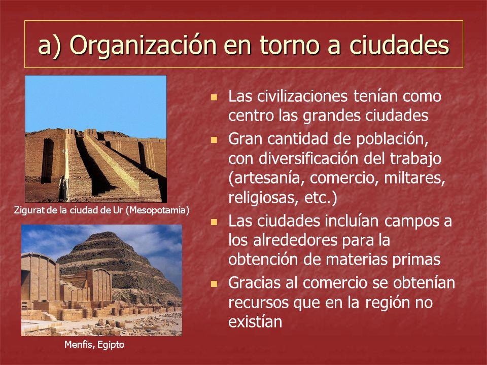 a) Organización en torno a ciudades
