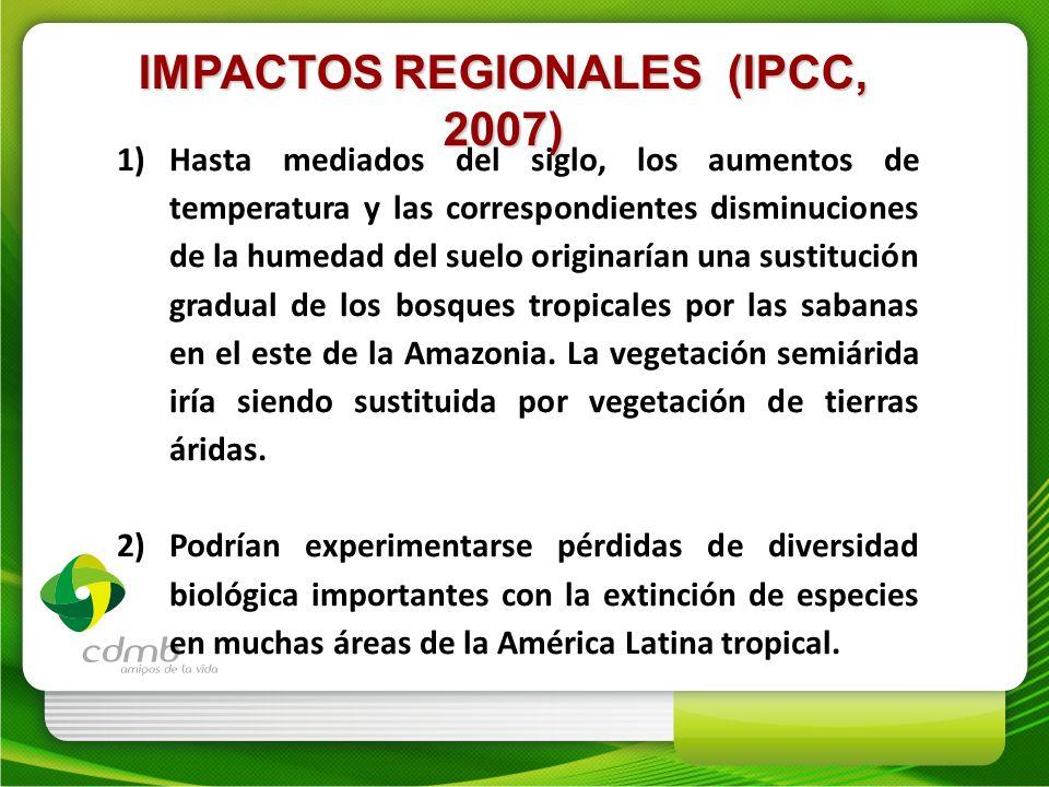 IMPACTOS REGIONALES (IPCC, 2007)