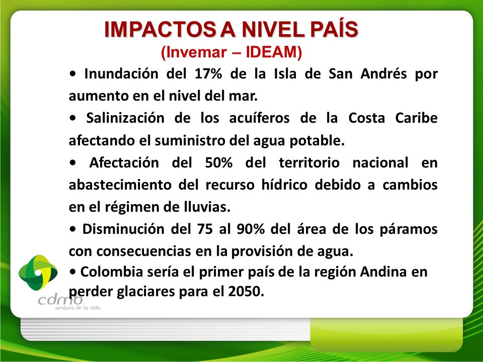 IMPACTOS A NIVEL PAÍS (Invemar – IDEAM)
