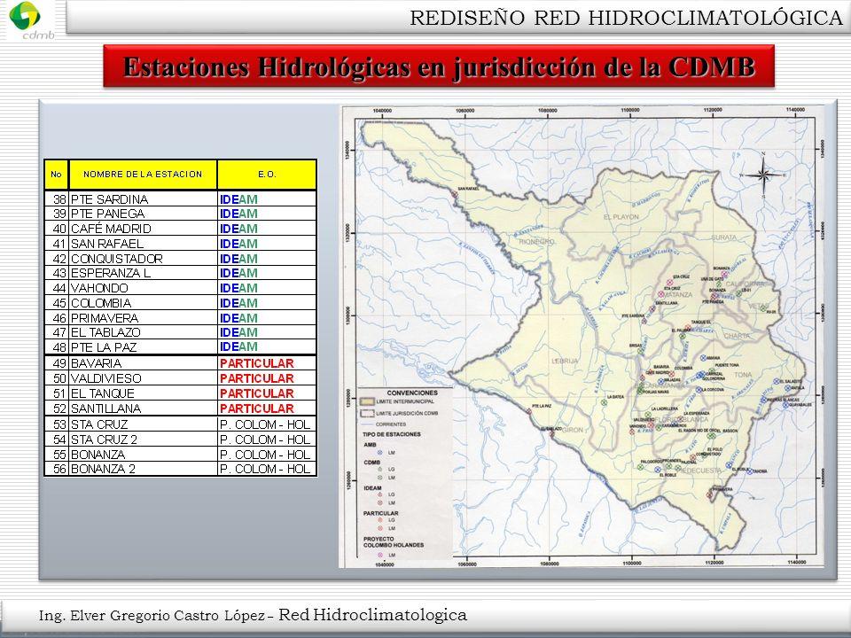 Estaciones Hidrológicas en jurisdicción de la CDMB