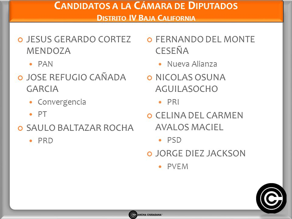 Candidatos a la Cámara de Diputados Distrito IV Baja California