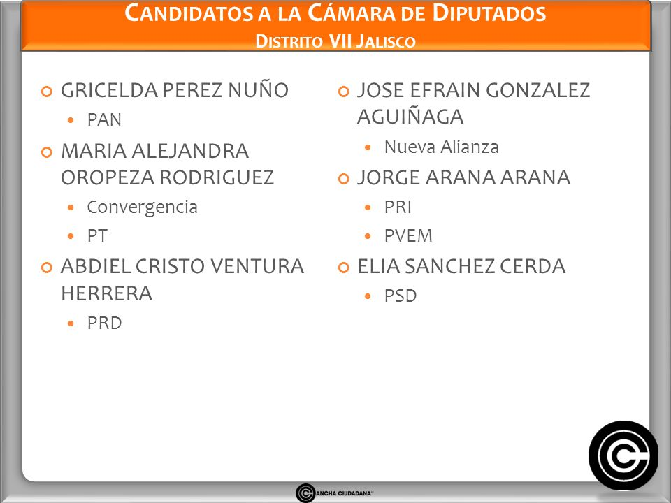 Candidatos a la Cámara de Diputados Distrito VII Jalisco