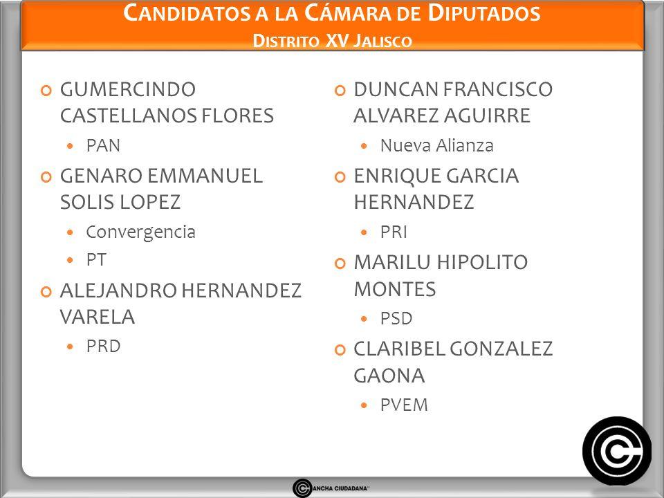 Candidatos a la Cámara de Diputados Distrito XV Jalisco