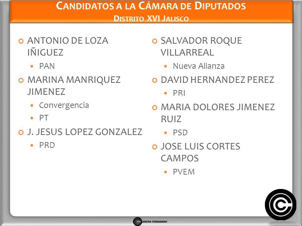 Candidatos a la Cámara de Diputados Distrito XVI Jalisco
