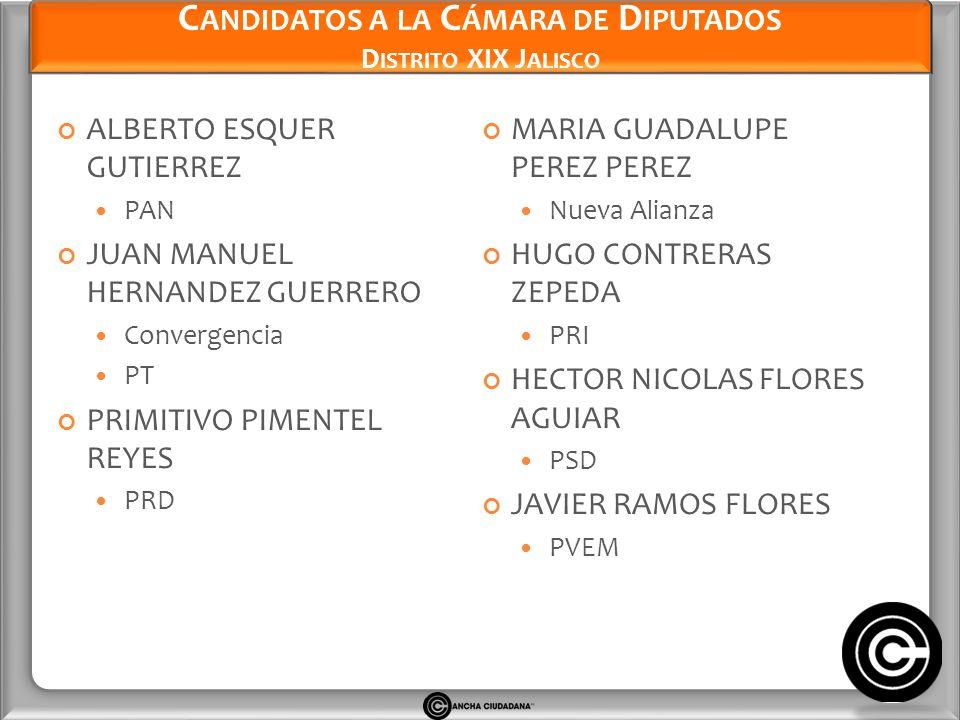 Candidatos a la Cámara de Diputados Distrito XIX Jalisco