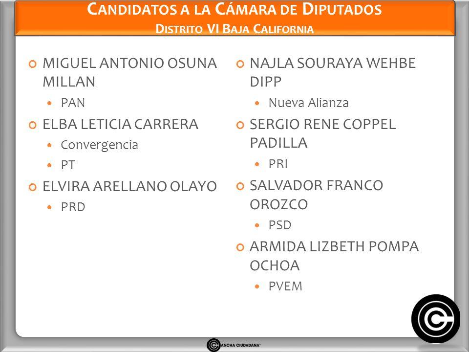 Candidatos a la Cámara de Diputados Distrito VI Baja California