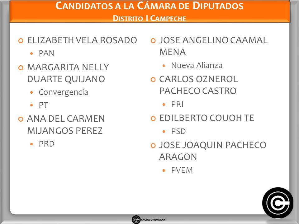 Candidatos a la Cámara de Diputados Distrito I Campeche