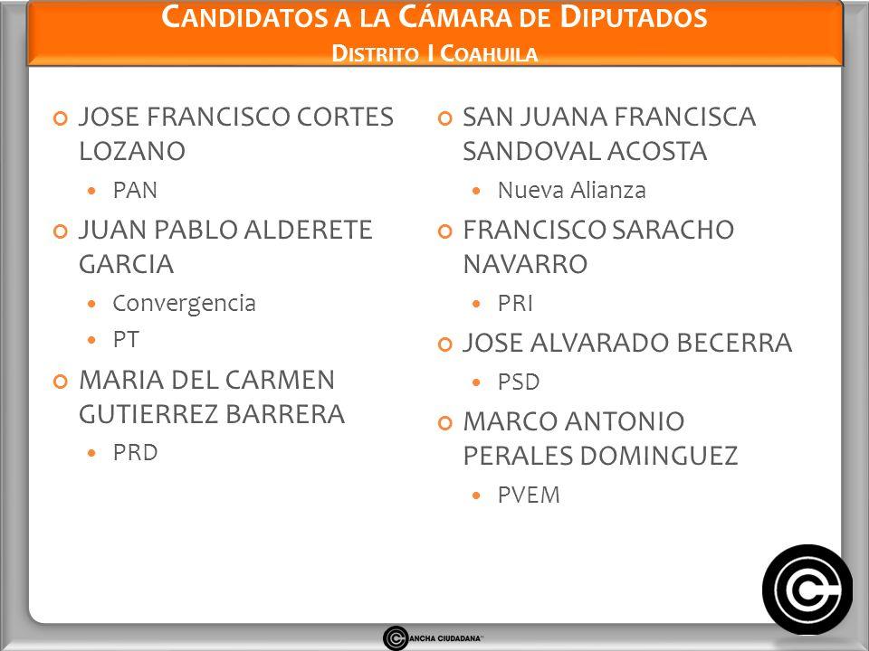 Candidatos a la Cámara de Diputados Distrito I Coahuila