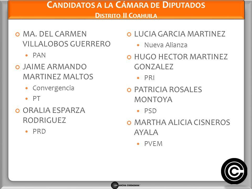 Candidatos a la Cámara de Diputados Distrito II Coahuila