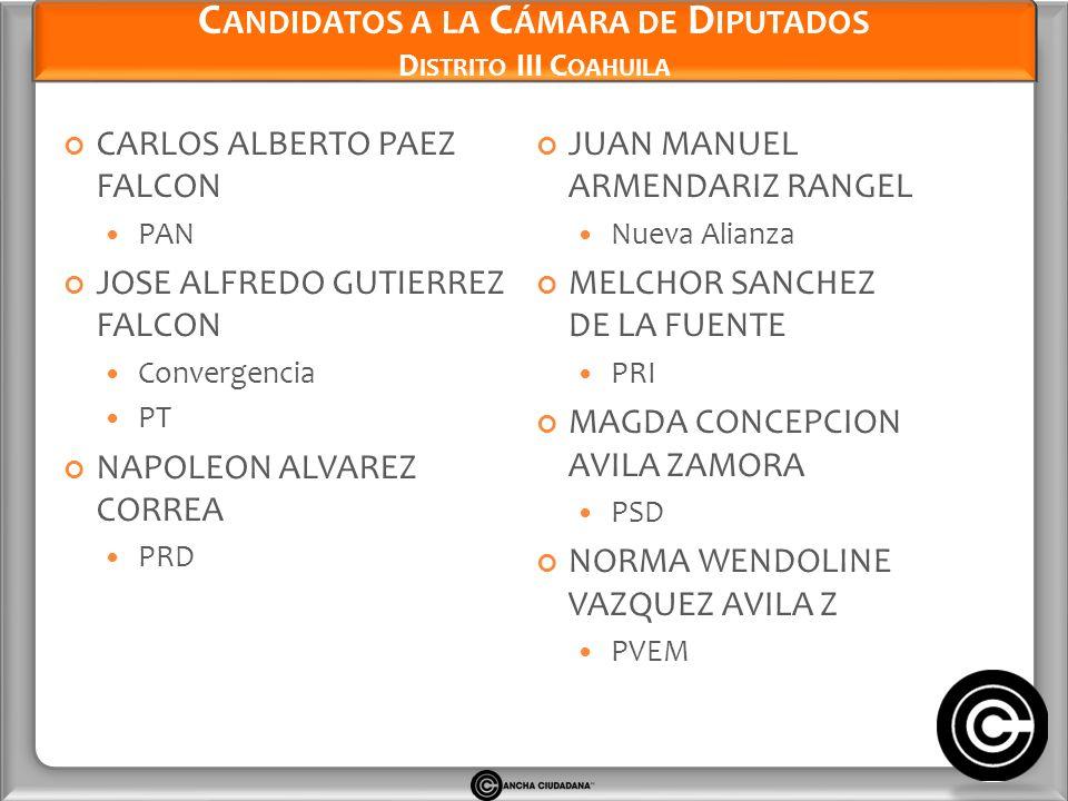 Candidatos a la Cámara de Diputados Distrito III Coahuila