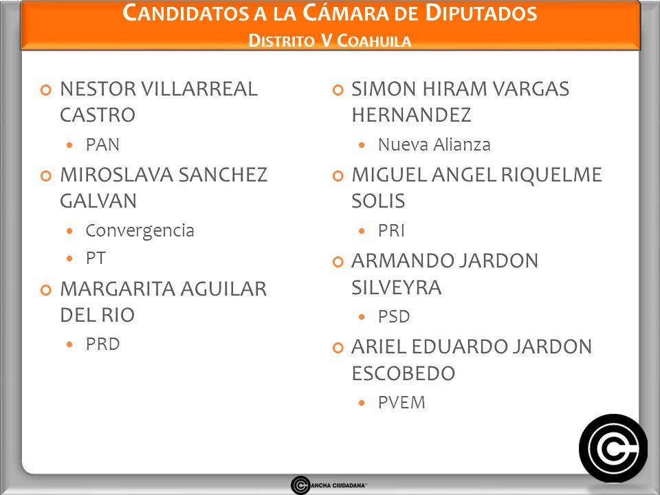 Candidatos a la Cámara de Diputados Distrito V Coahuila