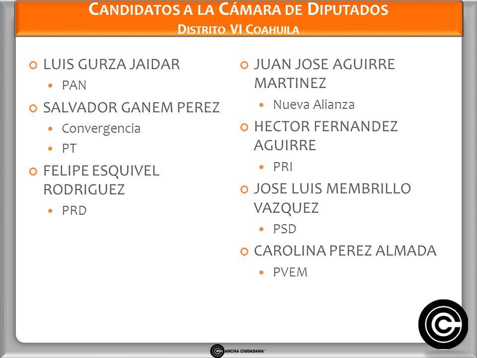 Candidatos a la Cámara de Diputados Distrito VI Coahuila