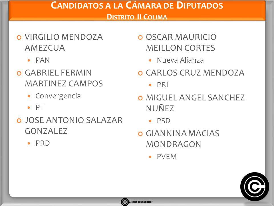 Candidatos a la Cámara de Diputados Distrito II Colima