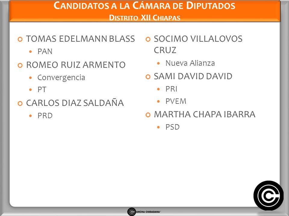 Candidatos a la Cámara de Diputados Distrito XII Chiapas