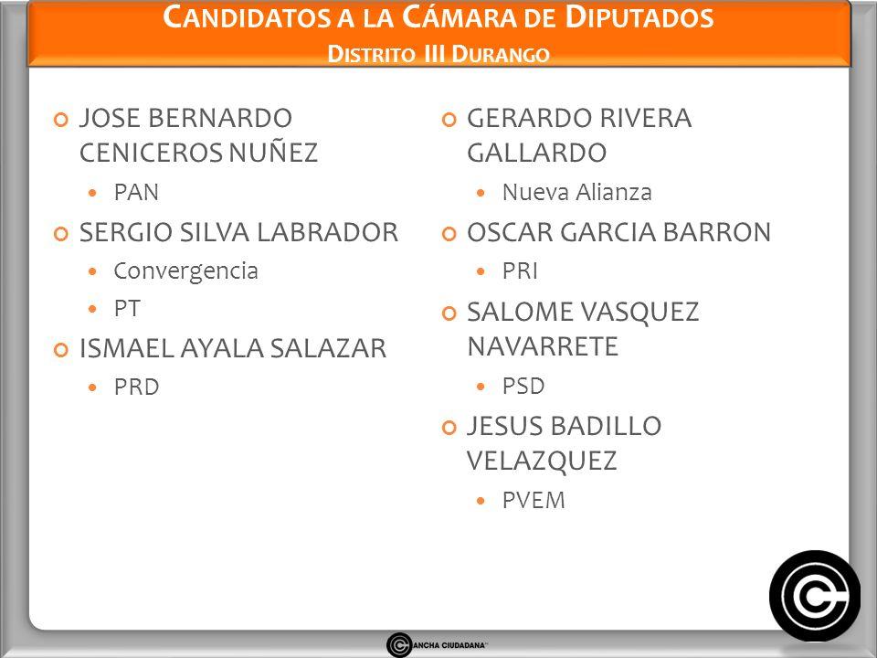 Candidatos a la Cámara de Diputados Distrito III Durango