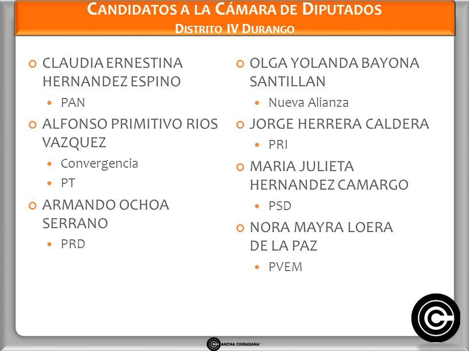 Candidatos a la Cámara de Diputados Distrito IV Durango
