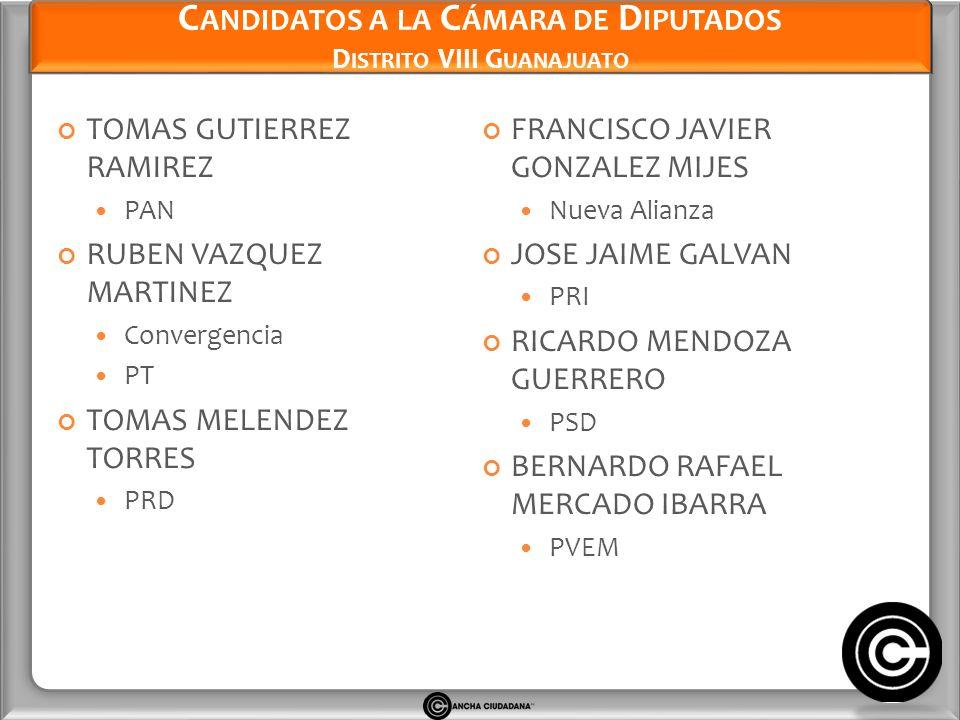 Candidatos a la Cámara de Diputados Distrito VIII Guanajuato
