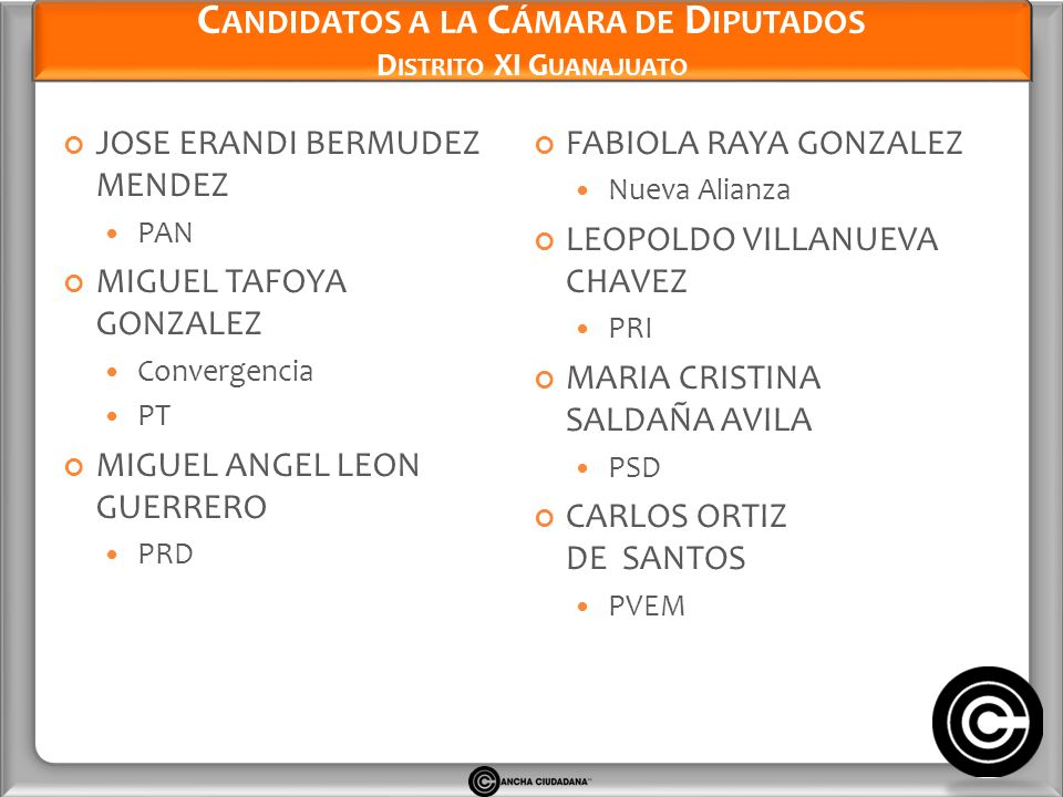 Candidatos a la Cámara de Diputados Distrito XI Guanajuato