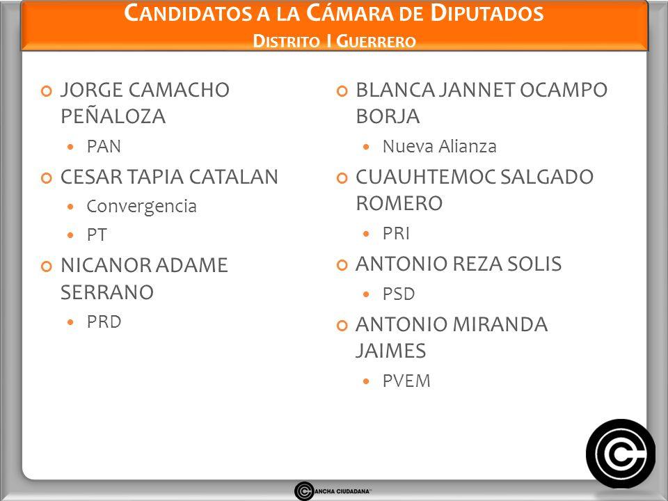 Candidatos a la Cámara de Diputados Distrito I Guerrero
