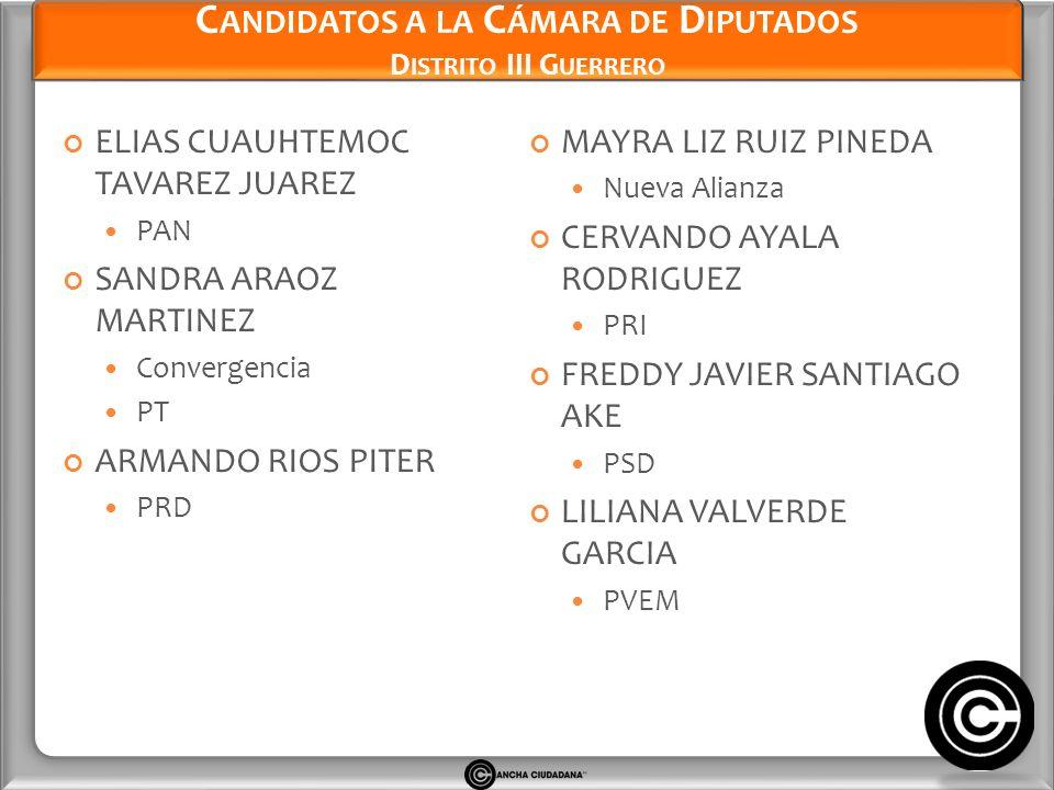 Candidatos a la Cámara de Diputados Distrito III Guerrero