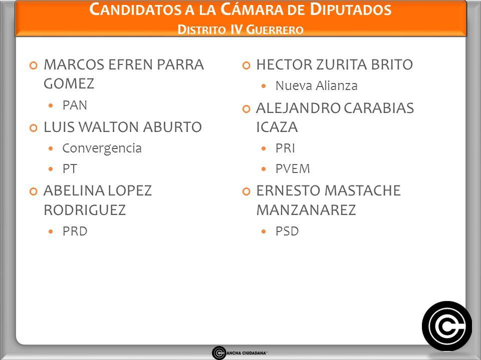 Candidatos a la Cámara de Diputados Distrito IV Guerrero