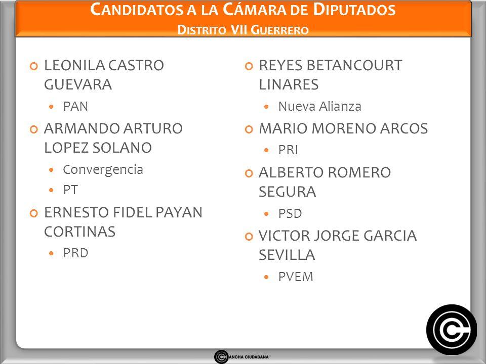 Candidatos a la Cámara de Diputados Distrito VII Guerrero