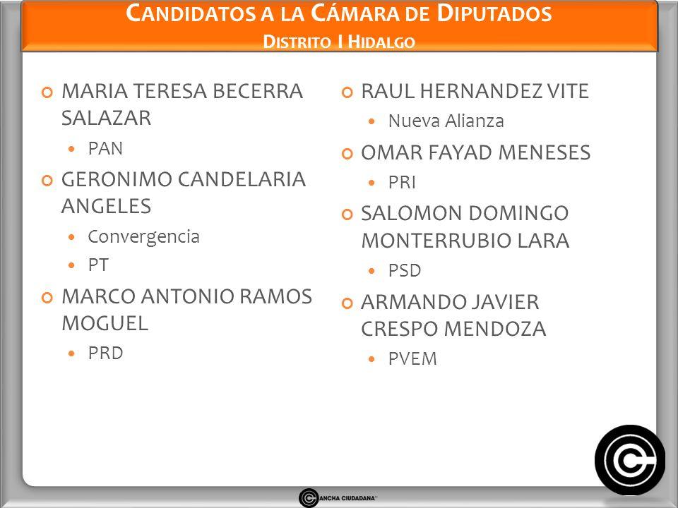 Candidatos a la Cámara de Diputados Distrito I Hidalgo