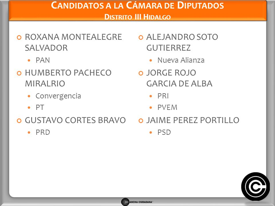 Candidatos a la Cámara de Diputados Distrito III Hidalgo